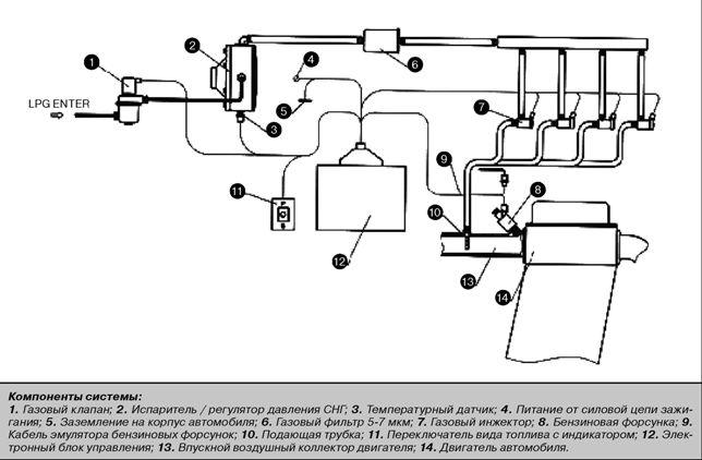 схема ГБО для газового