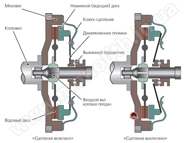 Упрощенная схема конструкции сцепления