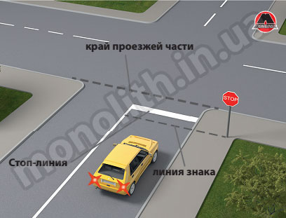 проезд перекрстка со знаком стоп