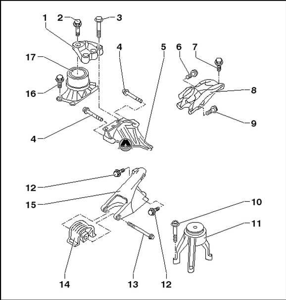 1. Кронштейн опоры двигателя